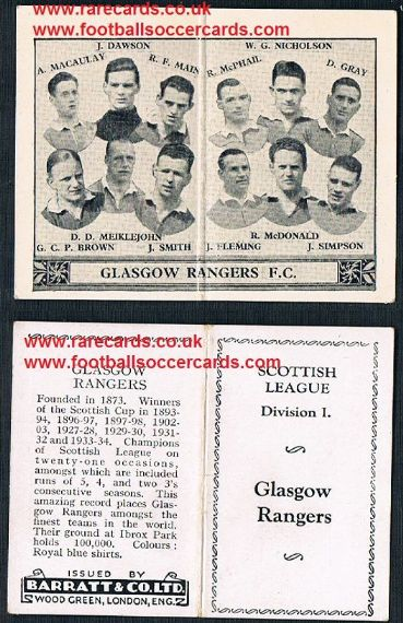 1934 Barratt Scottish league div 1 football team folders card Glasgow Rangers